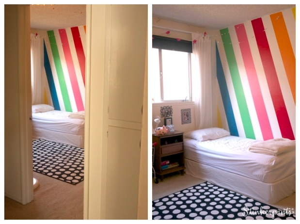 Modern and colorful kids room with diagonal stripes