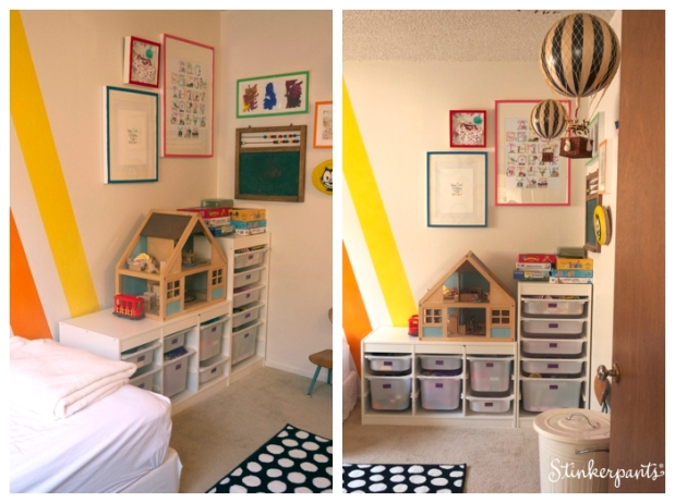 Modern and colorful kids room with diagonal stripes and toy storage