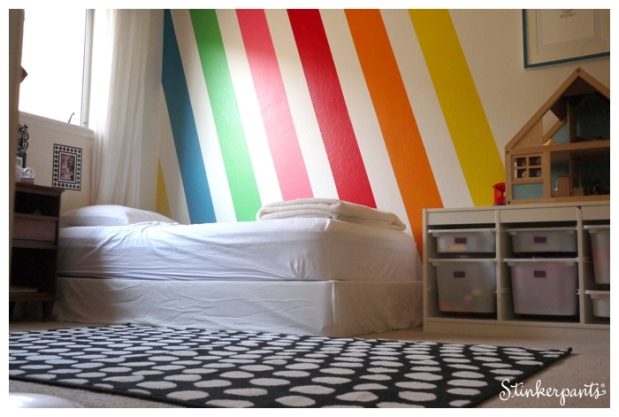 Colorful kids' room with diagonal stripes