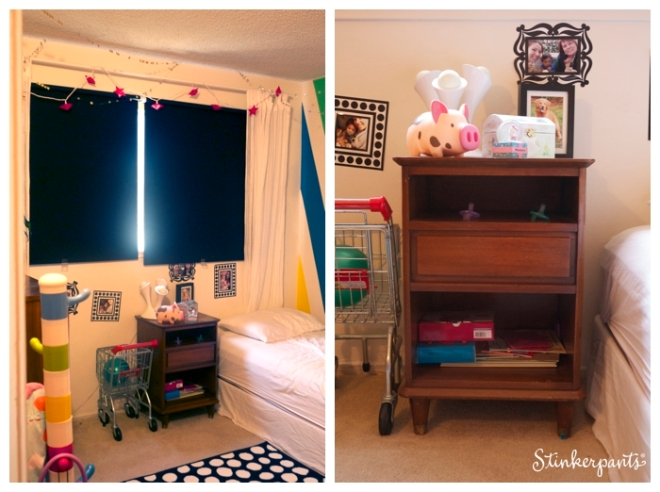 Colorful modern kids room with blackout shades and night stand